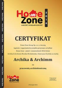 certyfikat Home Zone Archika & Archimm
